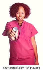 African american nurse woman with stethoscope