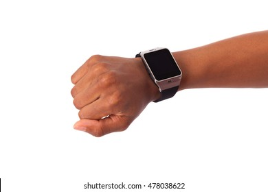 African American person wearing a smart watch, isolated on white background