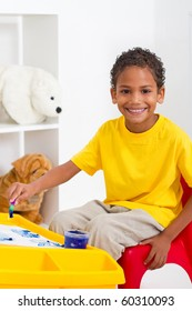 african american preschool boy in classroom