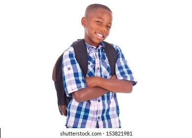 African American school boy, isolated on white background - Black people