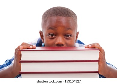 African American school boy with stack a book, isolated on white background - Black people