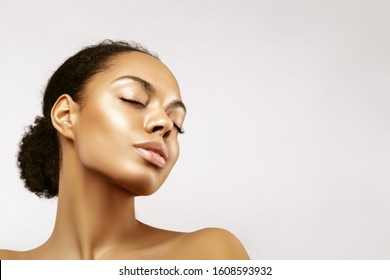 African American skincare models portrait. Beauty spa treatment concept.Young girl posing with closed eyes against grey background - Shutterstock ID 1608593932