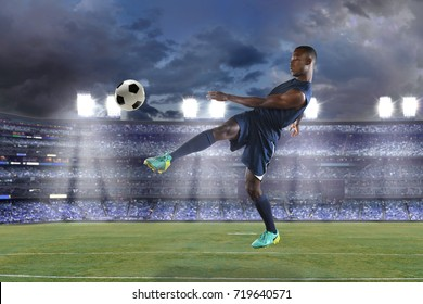 African American soccer player in action during match inside stadium