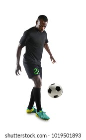African American soccer player controlling ball isolated over white background
