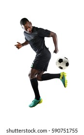 African American soccer player performing back kick isolated over white background