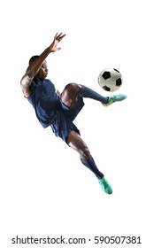 African American soccer player playing isolated over white background