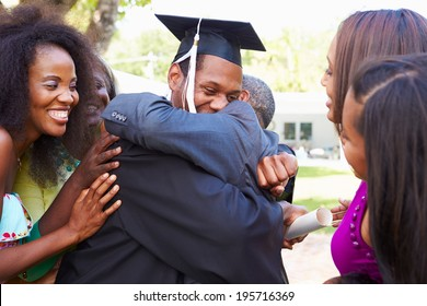 African American Student Celebrates Graduation