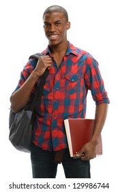 African American Student smiling with a backpack and notebook.