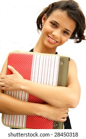 African american student teenager holding her school material - isolated over a white background.