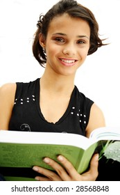 African american student teenager holding her book - isolated over a white background.
