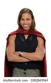 African American super hero businesswoman with cape isolated over white background