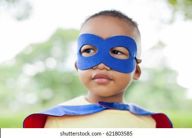 African American super hero child - Close-up