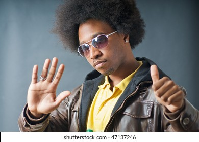 African American Teenager Afro look with glasses