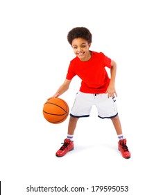 African American teenager smiling, playing basketball, full body portrait. Isolated, over white background, with copy space