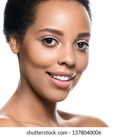 African american woman beauty natural makeup healthy skin beautiful female model