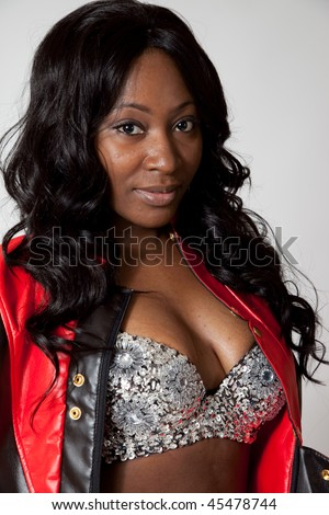 African American Woman With Cleavage