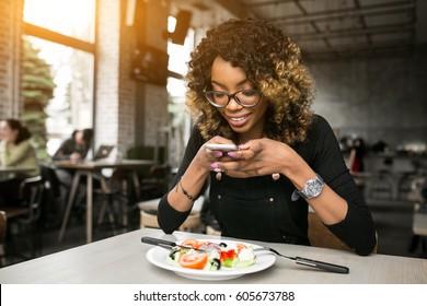 african american woman eating