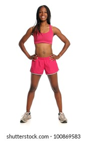 African American woman in exercise outfit isolated over white background