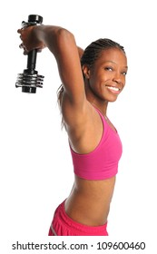 African American woman exercising with dumbbell isolated over white background