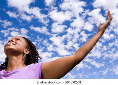 African American Woman Hands In Air