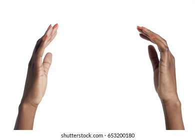 African American woman hands holding gesture; isolated on white background