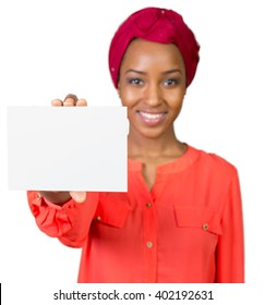 African american woman holding blank paper