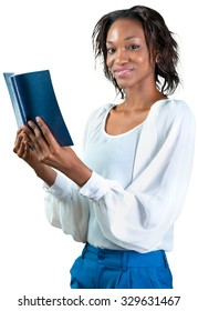 African american woman holding book