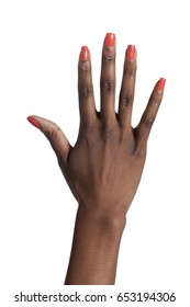 African American woman holding up hand showing five fingers; isolated on white background