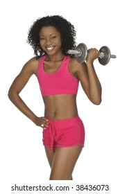African American woman lifting weights isolated on white background