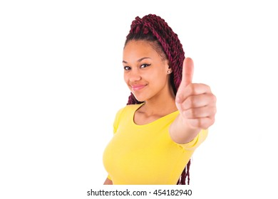 African American woman making thumbs up gesture