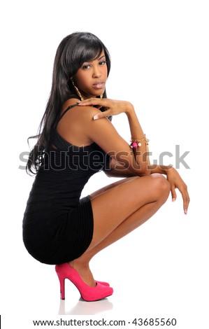 7f183daf199 African American Woman Posing Wearing Black Stock Photo (Edit Now ...