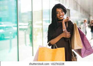 african american woman shopping