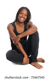 African American woman sitting isolated over white background