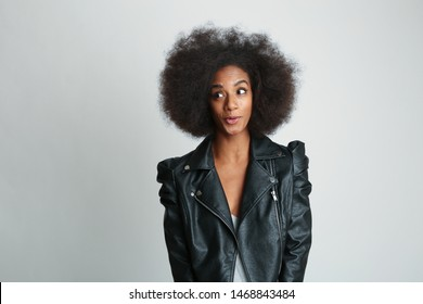 African american Woman smiling looking to the right
