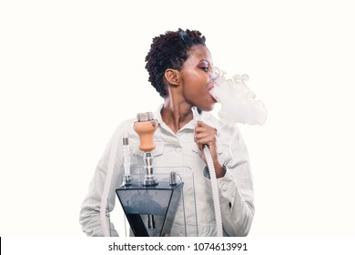 African american woman Smoking hookah