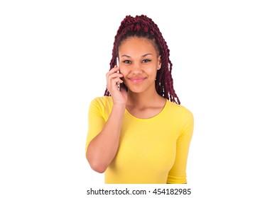 African american woman talking on phone