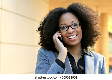 African American Woman Wearing Glasses and Suit One Professional Business Person Black Hair Africa Happy