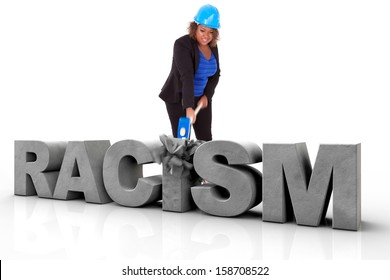 African American woman wearing a protection helmet braking a 3d text, isolated on white background  - Black people