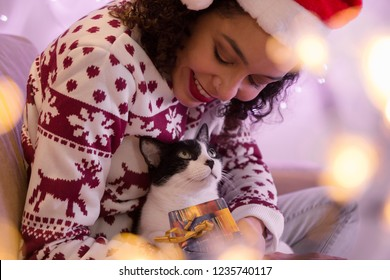 African American woman wearing Santa hat and Christmas sweater is giving gift box to domestic cat pet at home. blurred bokeh lights.