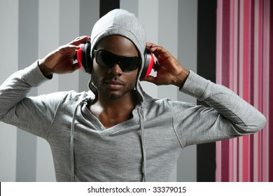 African american young black man rap dj