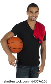 African American young good looking man standing with basketball; isolated on white background