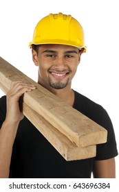 African American young good looking man standing with construction helmet and 2x4 pieces of wood planks; isolated on white background