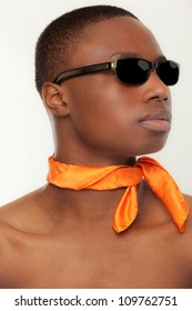 African American young man posing with a scarf