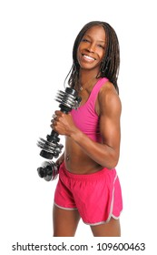 African American young woman curling dumbbells isolated over white background