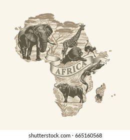 African animals, continent, lettering, Sepia, illustration