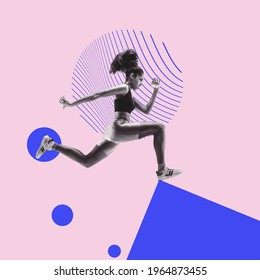 African athlete, runner on geometrical background. Modern design, contemporary art collage. Inspiration, idea, trendy urban magazine style. Negative space to insert your text or ad. Surrealism. - Shutterstock ID 1964873455