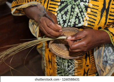 African Basket Making - Weaving Grass into baskets in Africa