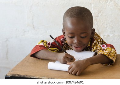 African black boy at School Writing with Copy Space
