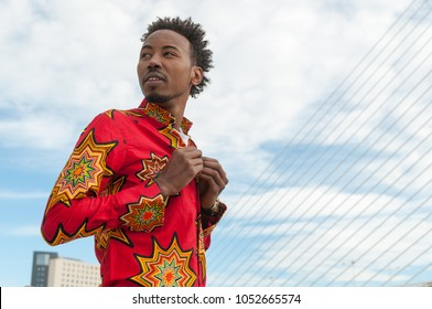 African black man with traditional Senegal shirt