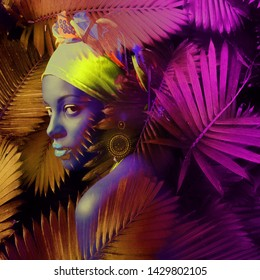 African black young woman  portrait with turban neon colors composite photo